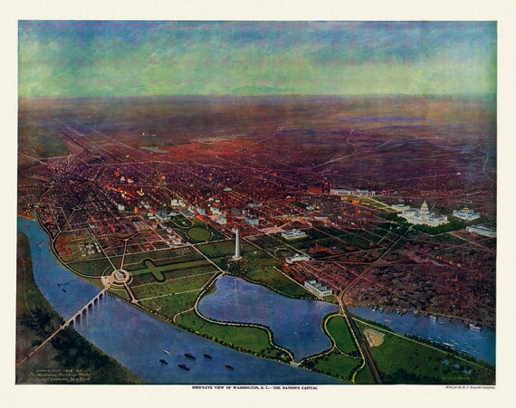 """Washington, D.C.,The Nation's Capital, 1916 , map on heavy cotton canvas, 20x25"""" approx."""