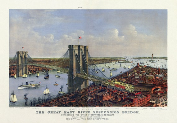 """East River Suspension Bridge Connecting the cities of New York & Brooklyn , 1885 , map on heavy cotton canvas, 20 x 25"""" approx."""