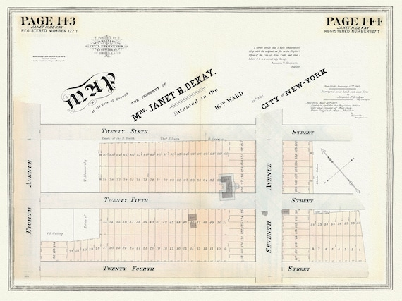"""NYC, Original Development (Cadestral) Map, Pages 143-144, Janet Kay, map on heavy cotton canvas, 20 x 25"""" approx."""