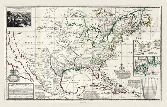 """Moll, Parts of America Claimed by France,  , map on heavy cotton canvas, 20 x 25"""" approx."""