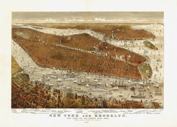 """New York and Brooklyn, with Jersey City and Hoboken water front, Currier & Ives, 1877 , map on heavy cotton canvas, 20 x 25"""" approx."""