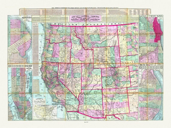 """Watson's New County and Railroad Map of the Western States and Territories, 1874 , map on heavy cotton canvas, 20 x 25"""" approx."""