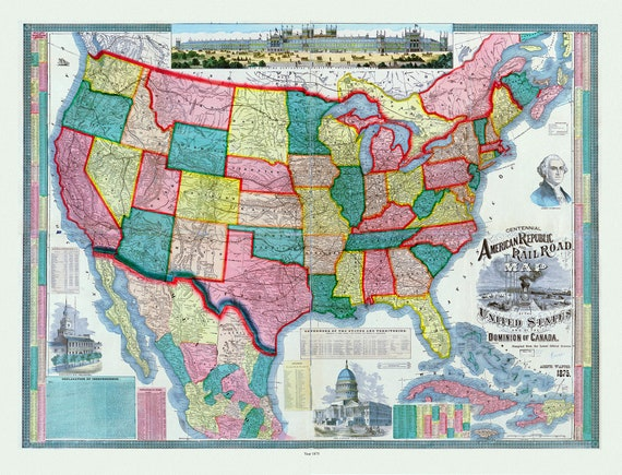 """Centennial American Republic and railroad map of the United States and of the Dominion of Canada, 1875  , on heavy cotton canvas, 20 x 24"""""""