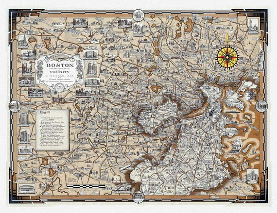 """Boston (Massachusetts) and Vicinity, Earnest Dudley Chase, 1938, , map on heavy cotton canvas, 20 x 25"""" approx."""
