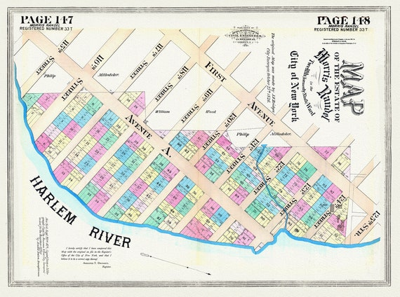 """NYC, Original Development (Cadestral) Map, Pages147-148, Morris Randel, 1819, map on heavy cotton canvas, 20 x 25"""" approx."""