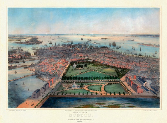 """Bird's eye view of Boston, Bachmann (auth.), 1850 , map on heavy cotton canvas, 20x25"""" approx."""