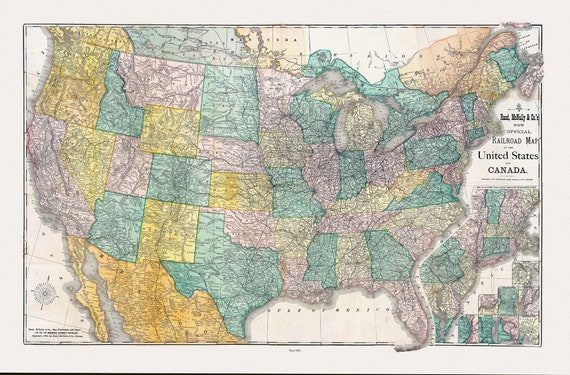 """Rand McNally and Company, Railroad Map Of The United States And Canada, 1883, map on heavy cotton canvas, 20 x 25"""" approx."""