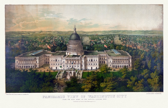 """Washington City from the new dome of the Capitol, looking East, 1857 , map on heavy cotton canvas, 20x25"""" approx."""