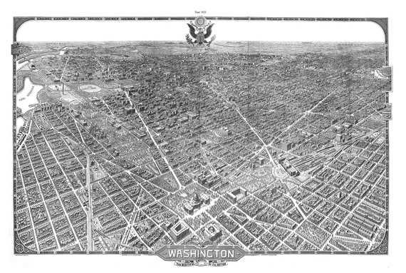 """Washington, The Beautiful Capital of the Nation, 1921, map on heavy cotton canvas, 20x25"""" approx."""