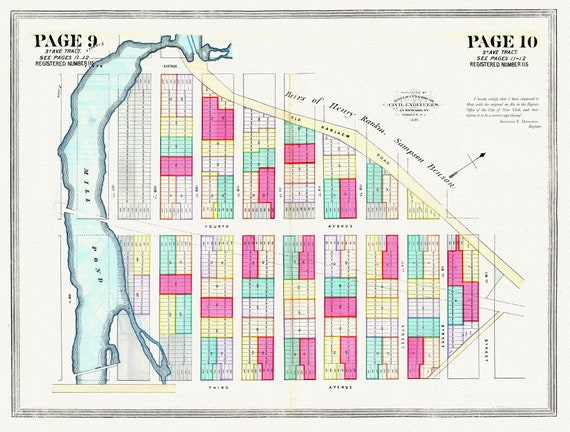 """NYC, Original Development (Cadestral) Map, Page 9-10, 3rd Ave. Tract, 1872 , map on heavy cotton canvas, 20 x 25"""" approx."""
