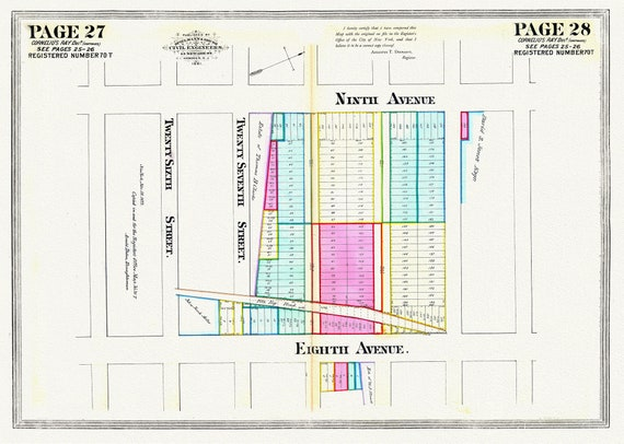 """NYC, Original Development (Cadestral) Map, Pages 27-28, Cornelius Ray, 1834 Part II , map on heavy cotton canvas, 20 x 25"""" approx."""