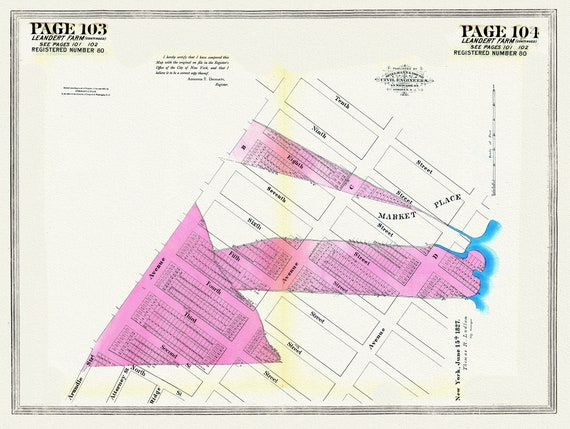 """NYC, Original Development (Cadestral) Map, Pages 103-104, 1827 Part III, map on heavy cotton canvas, 20 x 25"""" approx."""
