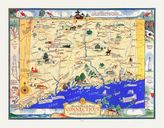 """Connecticut, A Historical Map of the State, 1937 , map on heavy cotton canvas, 20 x 25"""" approx."""