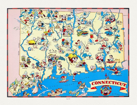 """Connecticut, Ruth White, 1935, map on heavy cotton canvas, 20 x 25"""" approx."""