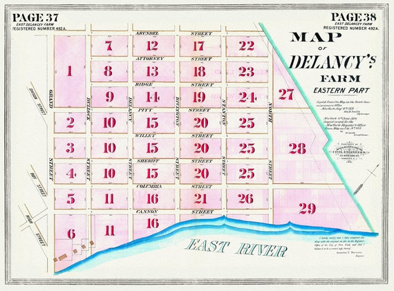 """NYC, Original Development (Cadestral) Map, Pages 37-38, East Delancey Farm, 1831 , map on heavy cotton canvas, 20 x 25"""" approx."""