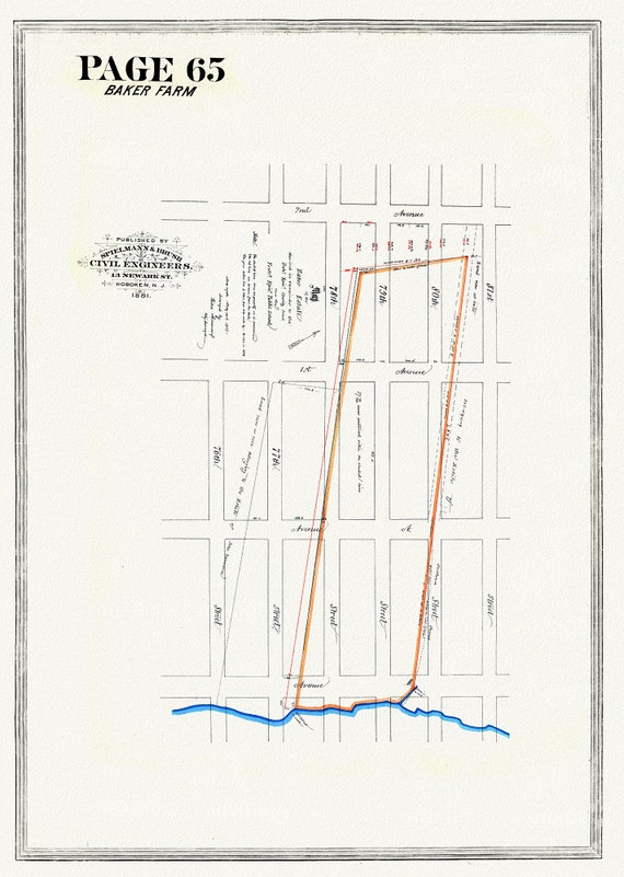 """NYC, Original Development (Cadestral) Map, Page 65, Baker Farm, 1852, map on heavy cotton canvas, 20 x 25"""" approx."""
