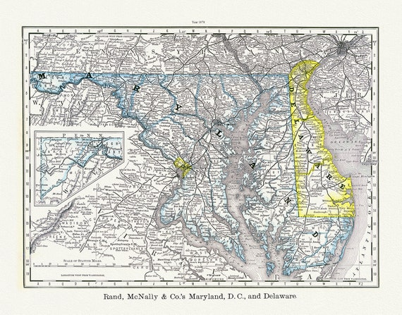 """Maryland, D.C., and Delaware, Rand, McNally & Co., 1878 Ver. T , map on heavy cotton canvas, 20x25"""" approx."""