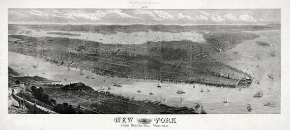 """New York From Bergen Hill, Hoboken, 1876 , map on heavy cotton canvas, 20 x 25"""" approx"""