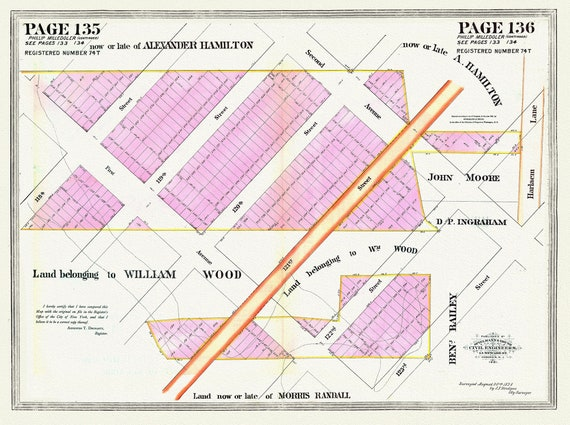 """NYC, Original Development (Cadestral) Map, Pages135-136, Milledoler, 1828, map on heavy cotton canvas, 20 x 25"""" approx."""