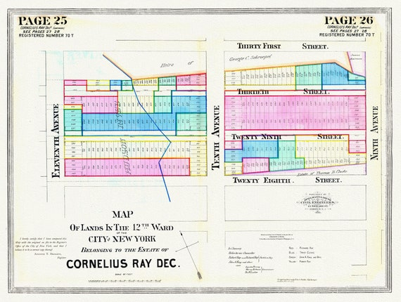 """NYC, Original Development (Cadestral) Map, Pages 25-25, Cornelius Ray, 1834, map on heavy cotton canvas, 20 x 25"""" approx."""