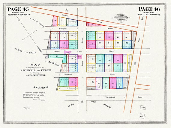 """NYC, Original Development (Cadestral) Map, Pages 45-46, Wiswall & Price, 1825  , map on heavy cotton canvas, 20 x 25"""" approx."""