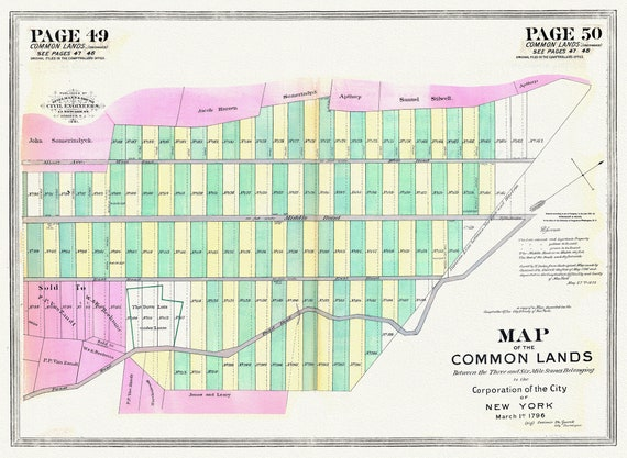 """NYC, Original Development (Cadestral) Map, Pages 49-50, Common Lands, 1796, map on heavy cotton canvas, 20 x 25"""" approx."""