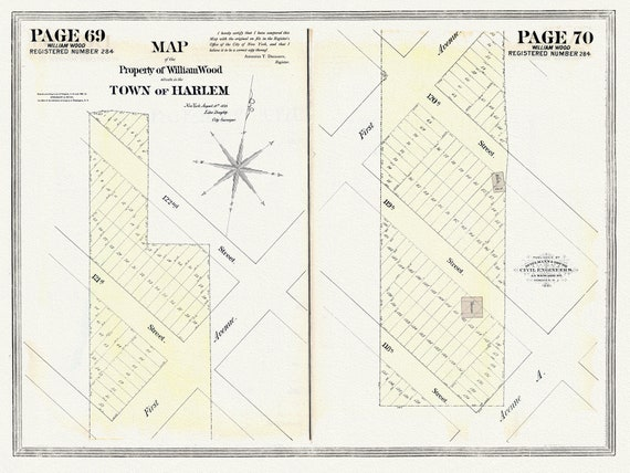 """NYC, Original Development (Cadestral) Map, Pages 69-70, William Wood, 1828 , map on heavy cotton canvas, 20 x 25"""" approx."""