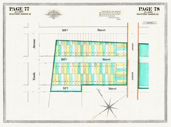 """NYC, Original Development (Cadestral) Map, Pages 77-78, J.L. Curtis, 1838 Part II , map on heavy cotton canvas, 20 x 25"""" approx."""
