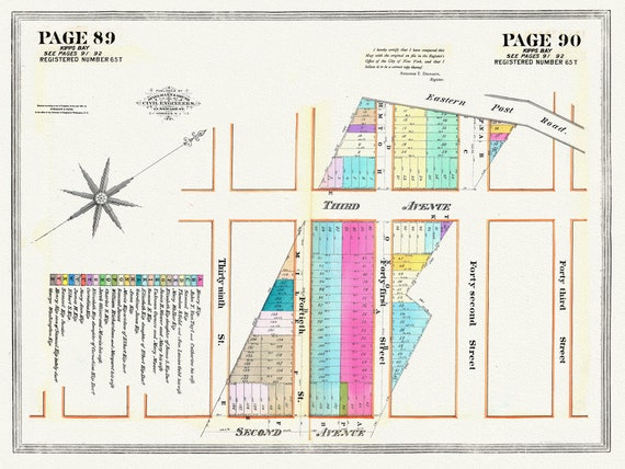 """NYC, Original Development (Cadestral) Map, Pages 89-90, Kip's Bay, 1833, map on heavy cotton canvas, 20 x 25"""" approx."""