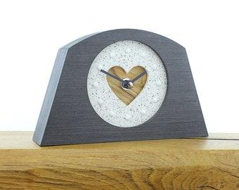 Oak effect mantel clock