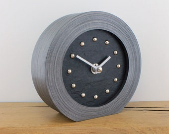 Black Slate Effect Mantel Clock with SILVER Studs and SILVER hands