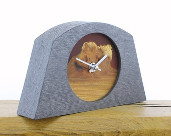 Unique Mantel Clock 26 - Natural Edged, English Elm and Infused Red Resin Face in a Pewter Coloured Frame