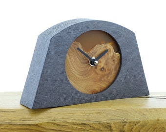Unique Mantel Clock 11 - Live Edged, English Elm and Infused Orange Resin Face in a Pewter Coloured Frame