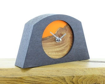 Unique Mantel Clock 24 - Live Edged, English Elm and Infused Orange Resin Face in a Pewter Coloured Frame