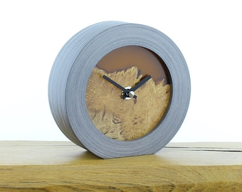 Unique Mantel Clock 28 - Natural Edged, English Oak and Infused Orange Resin Face in a Pewter Coloured Frame