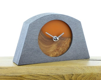Unique Mantel Clock 13 - Live Edged, English Elm and Infused Orange Resin Face in a Pewter Coloured Frame