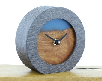 Unique Mantel Clock 16 - Natural Edged English Elm and Infused Blue Resin Face in a Pewter Coloured Frame