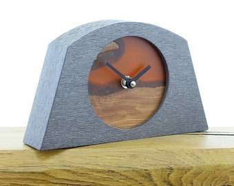 Unique Mantel Clock 10 - Live Edged, English Elm and Infused Orange Resin Face in a Pewter Coloured Frame
