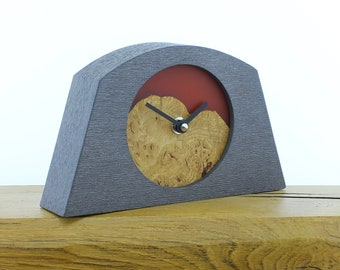 Unique Mantel Clock 22 - Natural Edged, English Oak and Infused Red Resin Face in a Pewter Coloured Frame