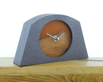 Unique Mantel Clock 25 - Live Edged, English Elm and Infused Orange Resin Face in a Pewter Coloured Frame