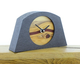 Unique Mantel Clock 23 - English Yew with Infused Red Resin Face in a Pewter Coloured Frame