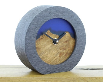 Unique Mantel Clock 14 - English Rustic Oak and Infused Blue Resin Face in a Pewter Coloured Frame