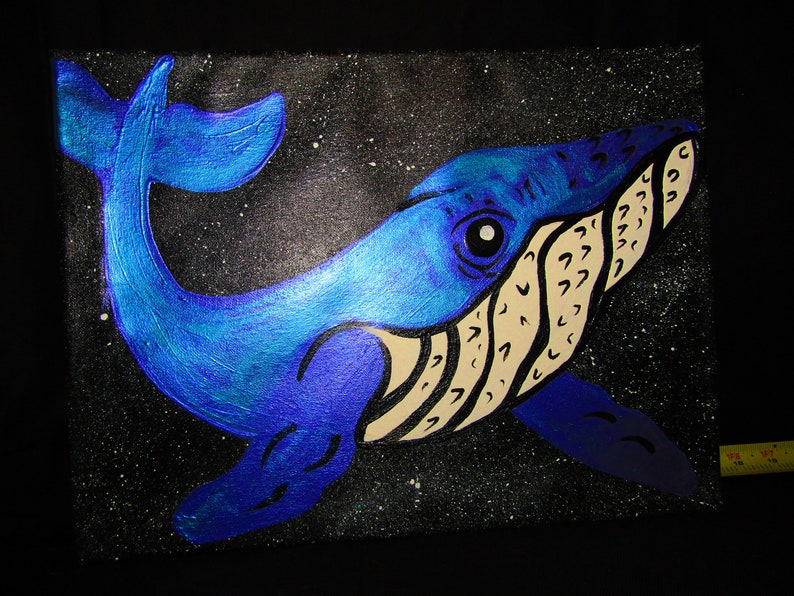 Humpback Whale Space and Stars Acrylic Metallic Mica Powder Stretched Canvas 8x11