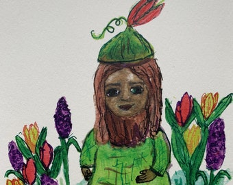 Gloria the gnome loves spring blank card