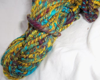 "handspun yarn, art yarn,""Turmeric and turquoise"" yarn, 4 ply yarn"