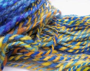 """handspun yarn, art yarn, bulky yarn, """"Sun in Blue"""" yarn"""