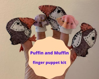 Puffin and muffin finger puppet kit with hand-dyed felt