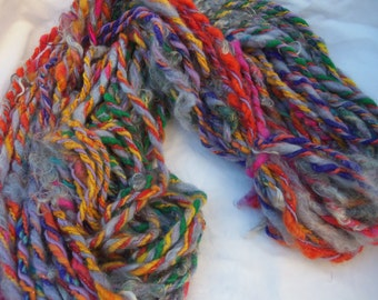 "handspun yarn, art yarn, super bulky yarn, ""Mermaid's Hair"" yarn variegated yarn, angora and wool yarn"
