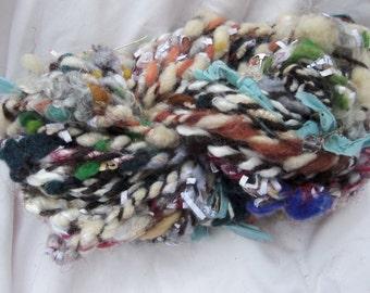 hand spun yarn, art yarn, mixed media yarn, super bulky yarn