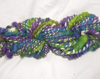 hand spun yarn, art yarn, variegated yarn, super bulky yarn, green/blue/purple yarn
